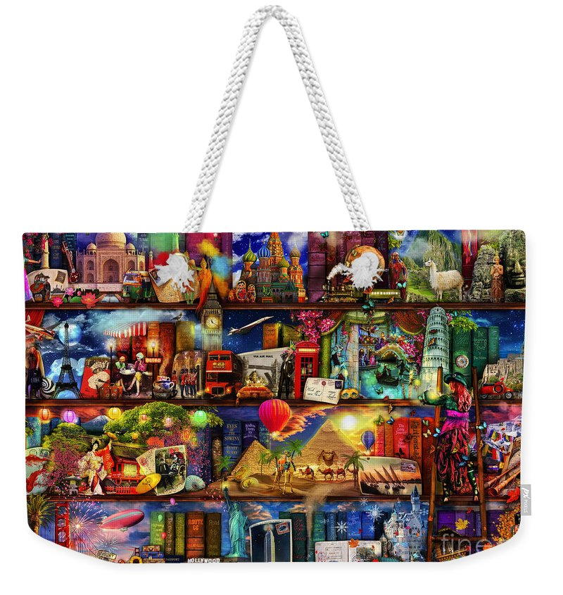 World Map Weekender Tote Bag featuring the digital art World Travel Book Shelf by MGL Meiklejohn Graphics Licensing