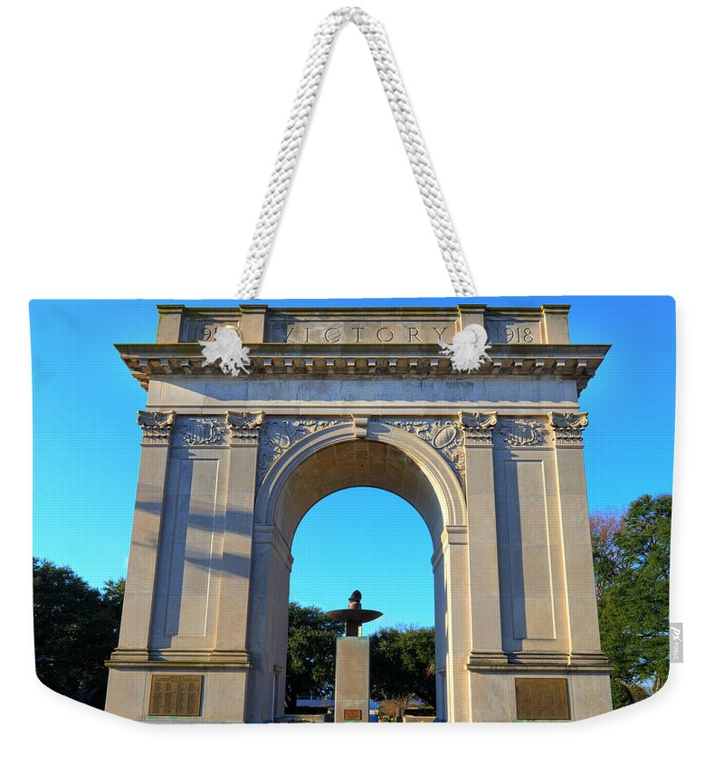 Victory Arch Weekender Tote Bag featuring the photograph World War I Victory Arch Newport News by Greg Hager
