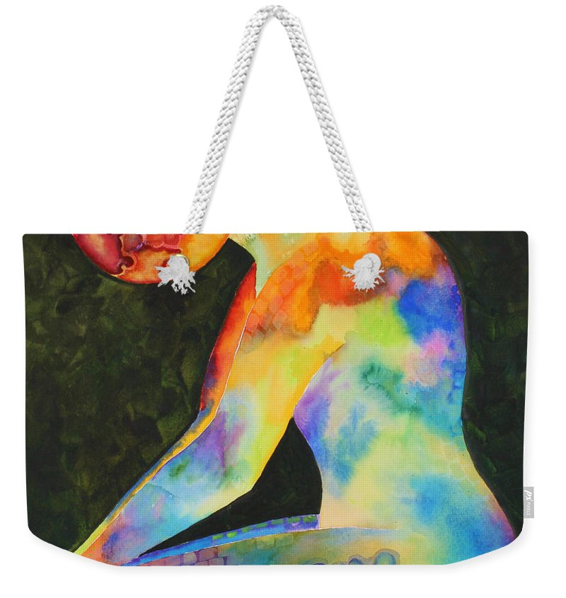 Abstract Weekender Tote Bag featuring the painting Wait by Shannan Peters