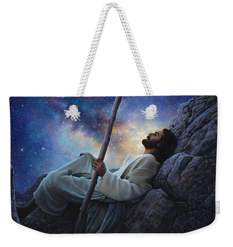 Jesus Weekender Tote Bag featuring the painting Worlds Without End by Greg Olsen