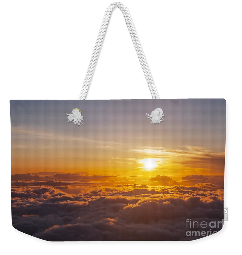 Haleakala National Park Volcano Area Maui Hawaii Evening Sky Skies Cloud Clouds Sunset Sunsets Sun Cloud Clouds Parks Weekender Tote Bag featuring the photograph Worth The Waiting by Bob Phillips