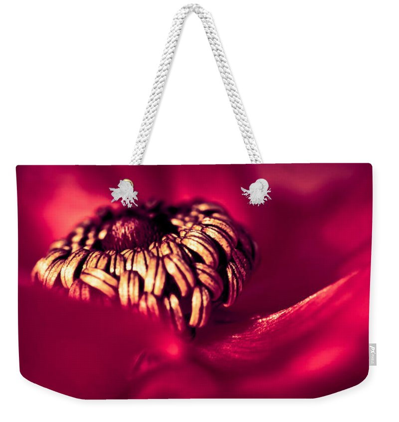 Macro Weekender Tote Bag featuring the photograph Wrap Me In Red by Jan Bickerton