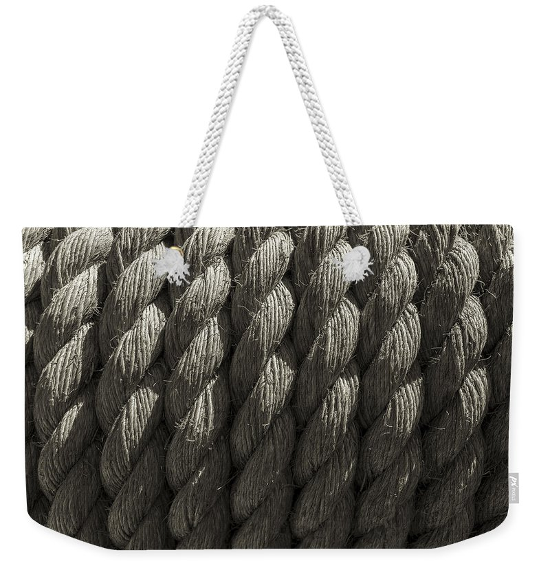 Rope Weekender Tote Bag featuring the photograph Wrapped Up Tight Sepia by Scott Campbell
