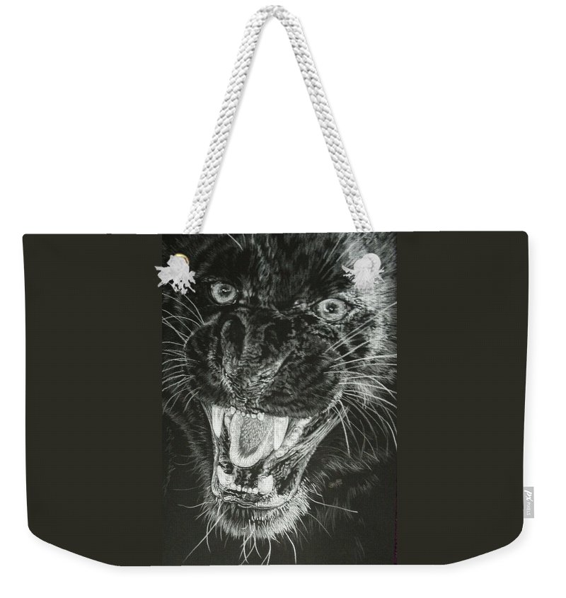 Leopard Weekender Tote Bag featuring the drawing Wrath by Barbara Keith
