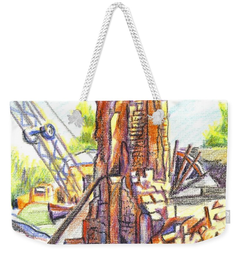 Wrecking Ball Weekender Tote Bag featuring the painting Wrecking Ball by Kip DeVore
