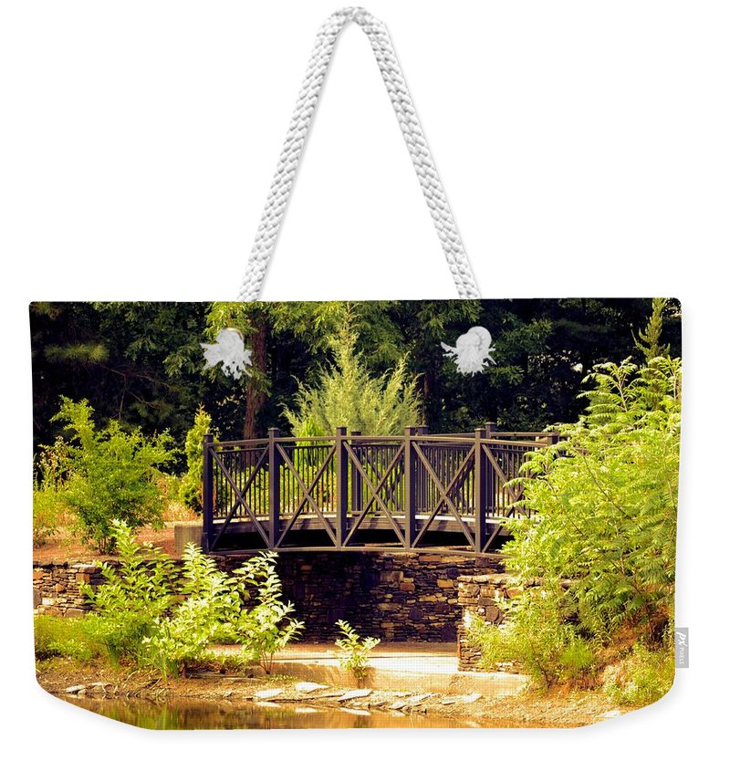 Wrought Iron Bridge Weekender Tote Bag featuring the photograph Wrought Iron Bridge by Maria Urso