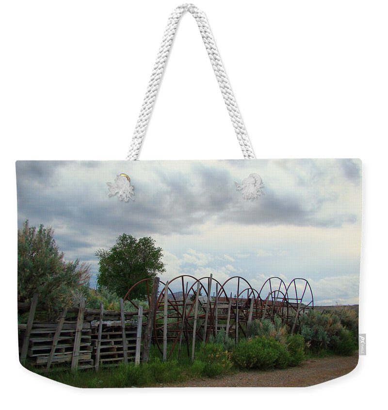 Weekender Tote Bag featuring the photograph Wyoming Backroads 2 by Cathy Anderson