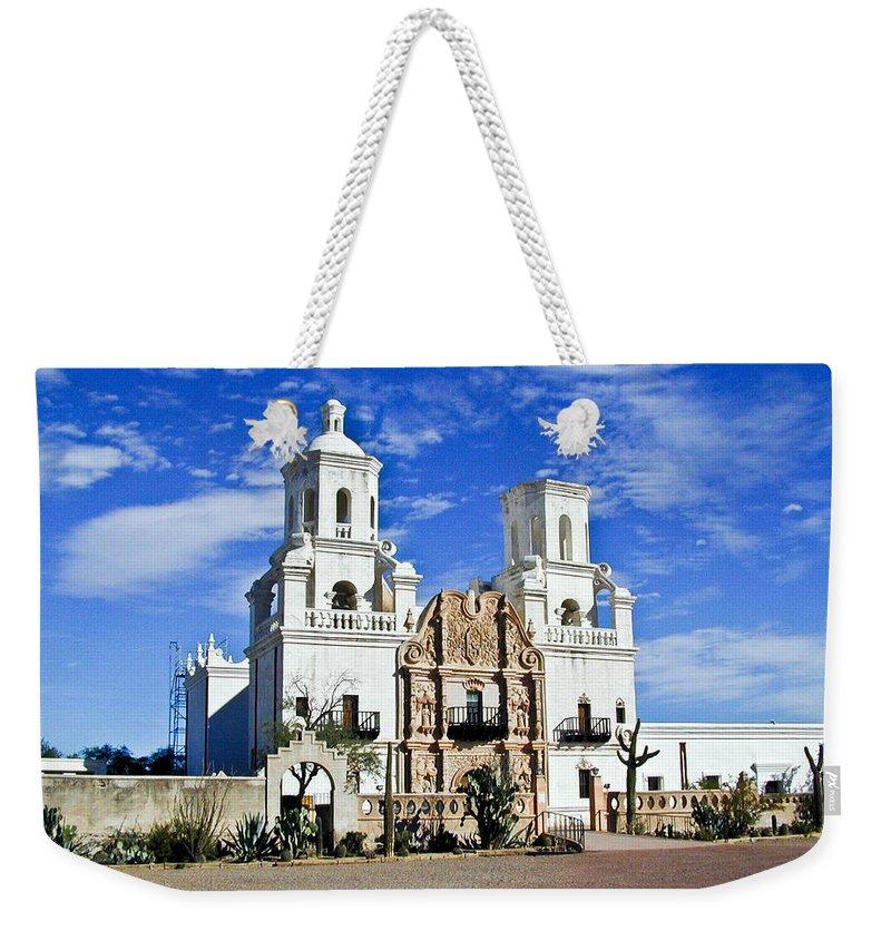 Mission San Xavier Del Bac Weekender Tote Bag featuring the photograph Xavier Tucson Arizona by Douglas Barnett