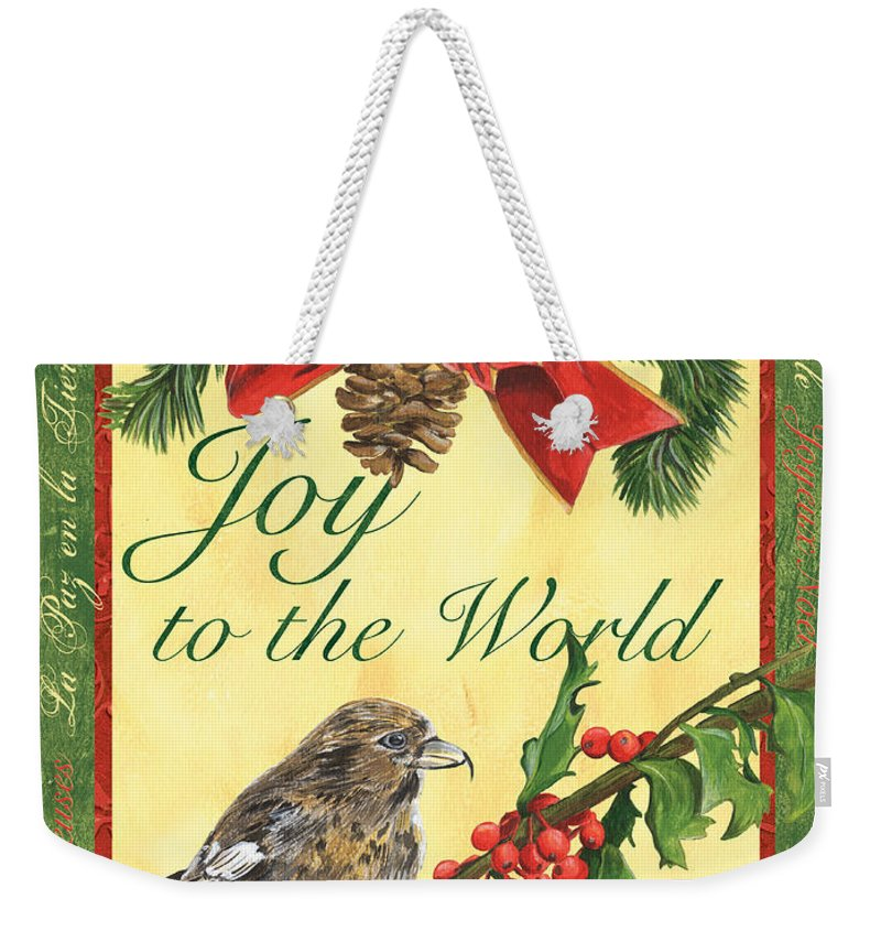 Titmouse Weekender Tote Bag featuring the painting Xmas Around The World 2 by Debbie DeWitt