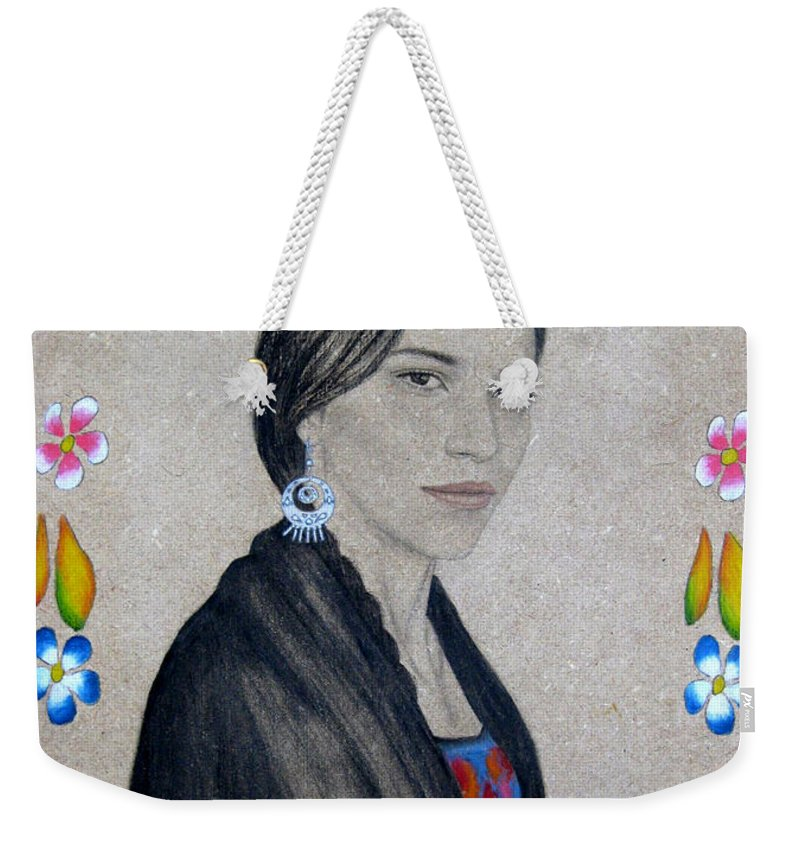 Flower Weekender Tote Bag featuring the painting Xochitl by Lynet McDonald