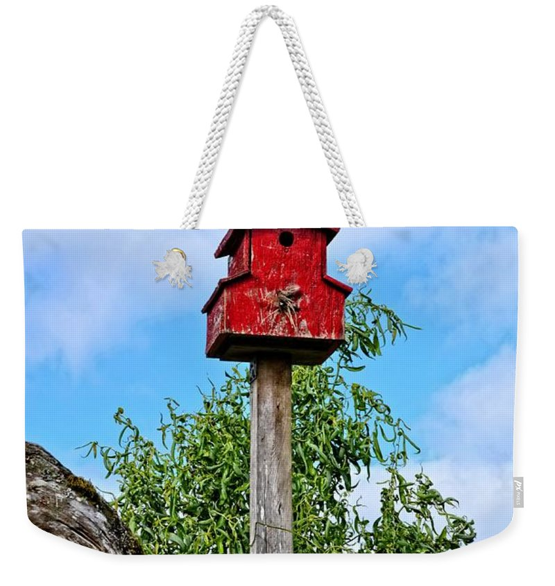 Birdhouse Weekender Tote Bag featuring the photograph Yachats Red Birdhouse by Image Takers Photography LLC