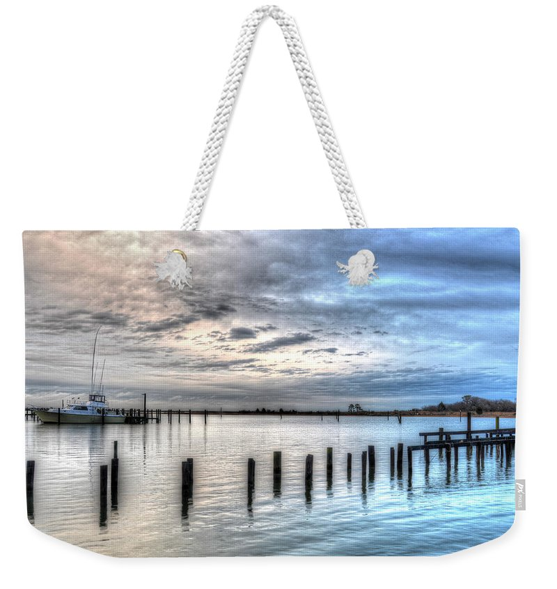 Yacht Weekender Tote Bag featuring the photograph Yacht Storming Morning by Greg Hager