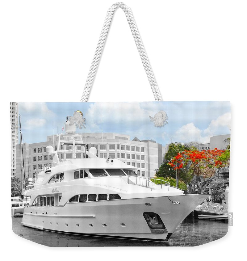 Yacht Weekender Tote Bag featuring the photograph Yacht Watch Series 02 by Carlos Diaz