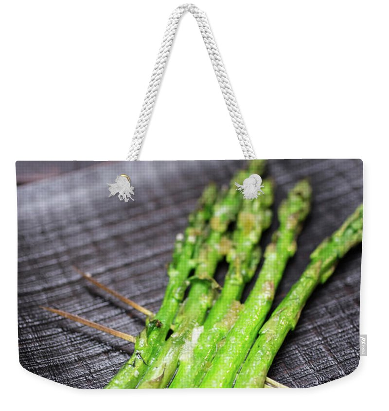 Serving Dish Weekender Tote Bag featuring the photograph Yakitori Asparagus by Katya Lyukum