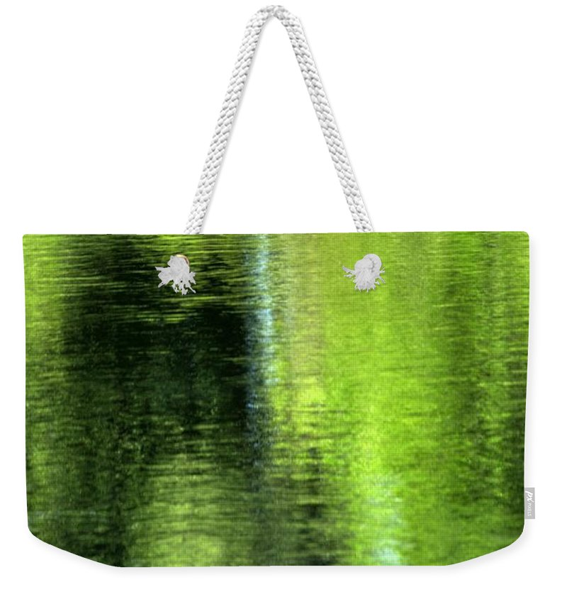 Yamhill Weekender Tote Bag featuring the photograph Yamhill River Abstract 24831 by Jerry Sodorff