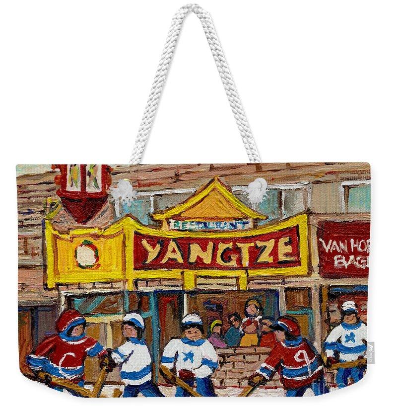 Montreal Weekender Tote Bag featuring the painting Yangtze Restaurant With Van Horne Bagel And Hockey by Carole Spandau