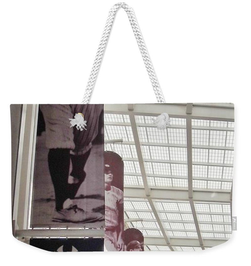 Yankee Stadium Weekender Tote Bag featuring the photograph Yankee Old Timers Flags by Michelle Welles