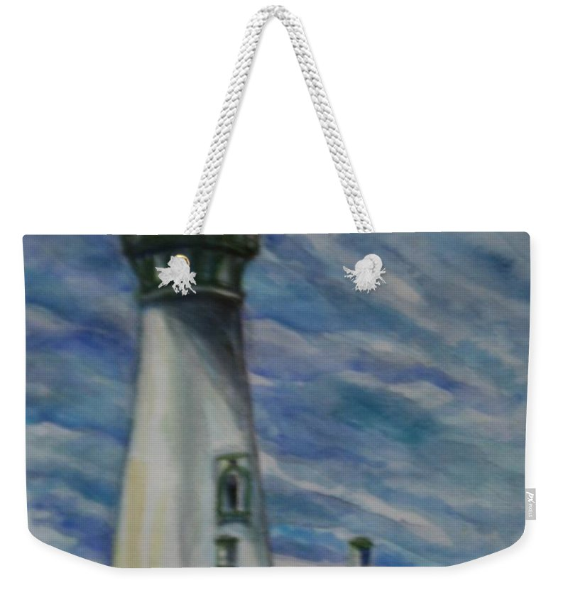 Quin Sweetman Weekender Tote Bag featuring the painting Yaquina Head Lighthouse Original Painting by Quin Sweetman