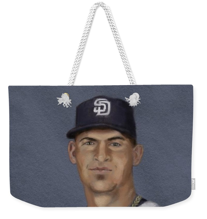 Promo Art I Did For The 2013 #veddercup Of Yasmani Grandal Weekender Tote Bag featuring the digital art Yasmani Grandal Vc by Jeremy Nash