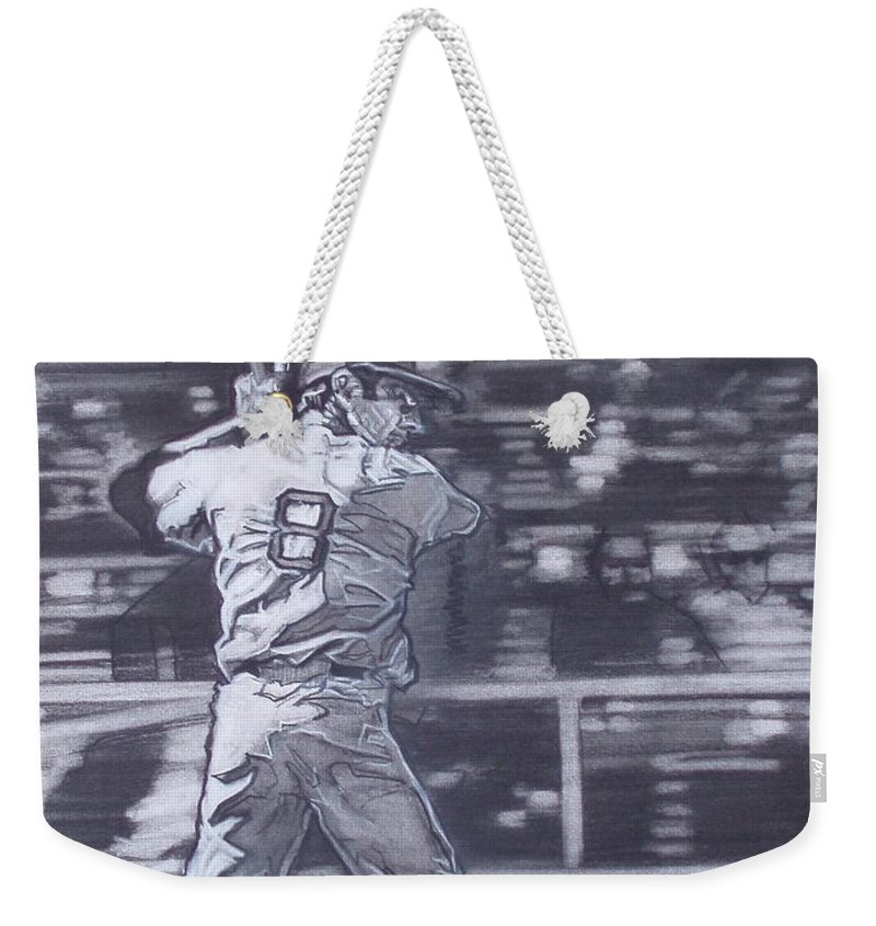 Charcoal Weekender Tote Bag featuring the drawing Yaz - Carl Yastrzemski by Sean Connolly