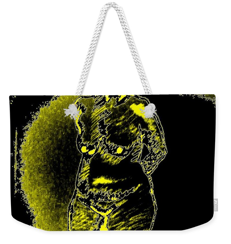 Genio Weekender Tote Bag featuring the mixed media Yellow And Black Woman by Genio GgXpress