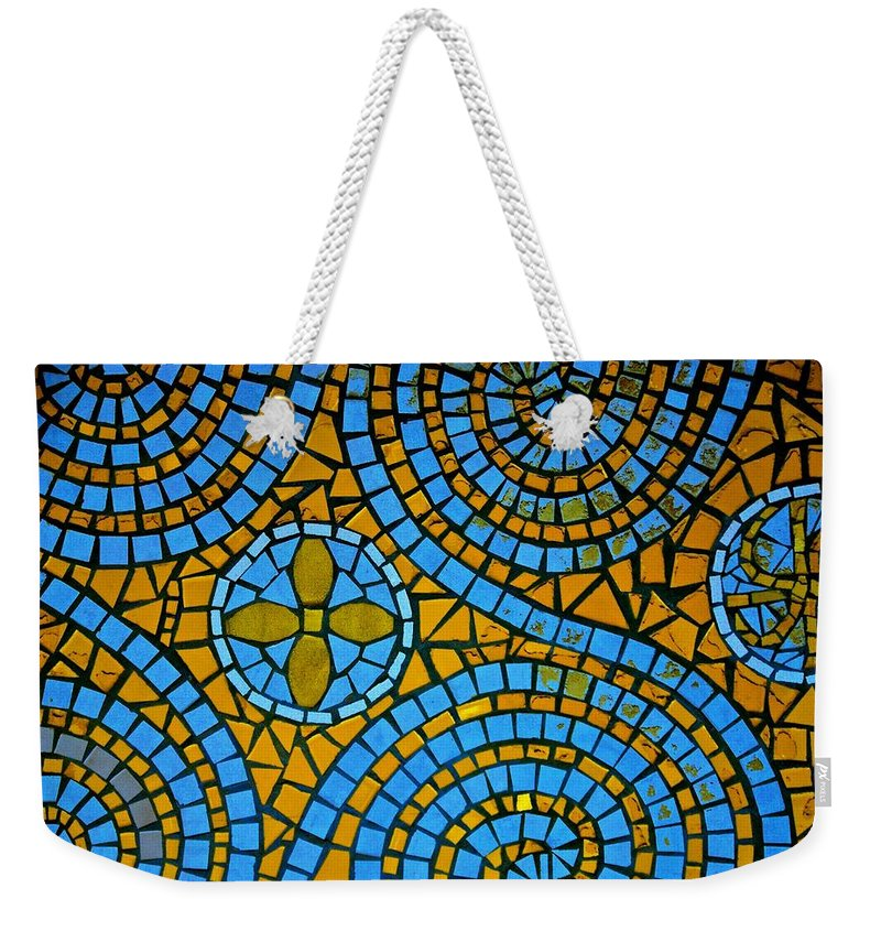 Mosaic Weekender Tote Bag featuring the photograph Yellow And Blue Mosaic by Eric Tressler