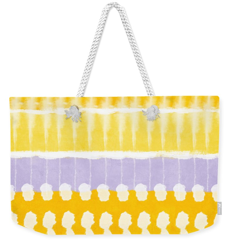 Abstract Weekender Tote Bag featuring the painting Yellow And Grey Tie Dye by Linda Woods