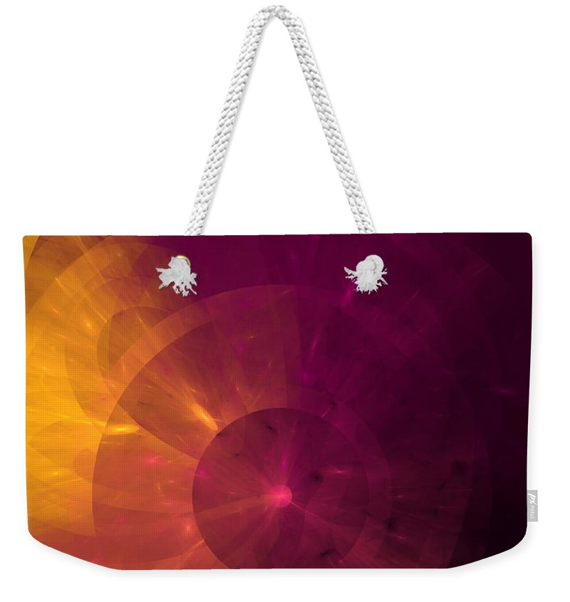 Abstract Weekender Tote Bag featuring the digital art Yellow And Purple Umbrella Top Abstract by Andee Design