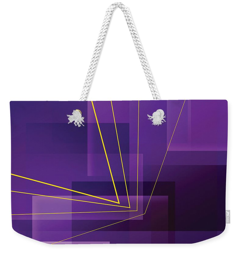 Abstract Weekender Tote Bag featuring the digital art Yellow Angles Through Purple Landscape by James Kramer