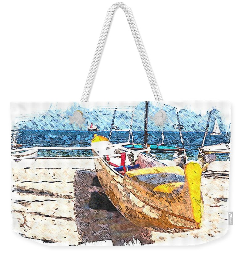 Yellow Boat Weekender Tote Bag featuring the mixed media Yellow Boat by Bob Pardue