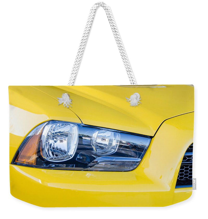 Automobile Weekender Tote Bag featuring the photograph Yellow Charger 1520 by Guy Whiteley