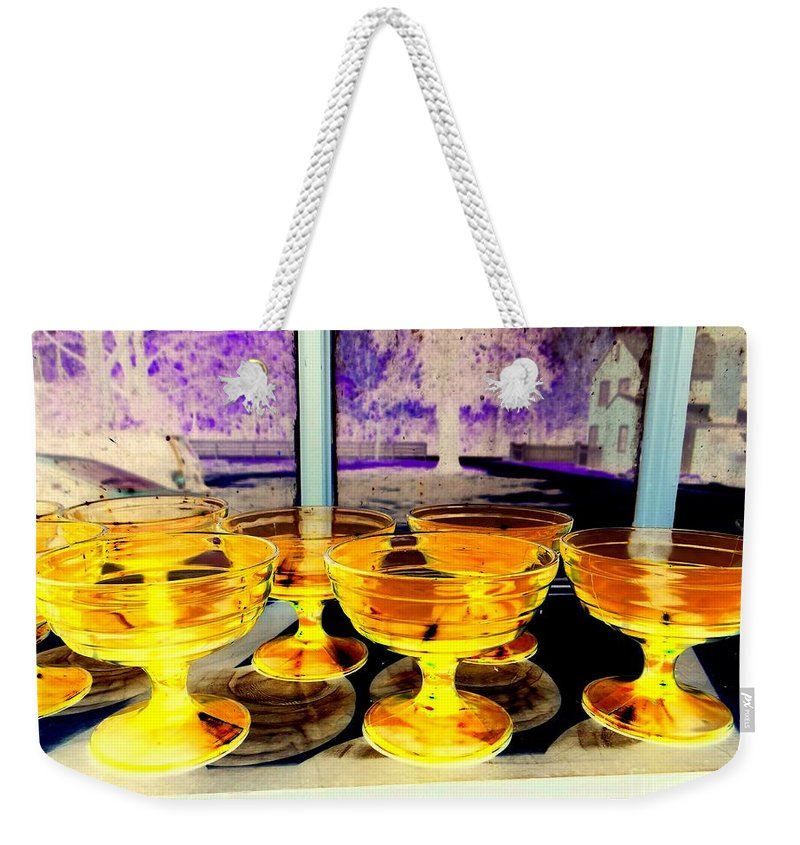 Pop Art Weekender Tote Bag featuring the photograph Yellow Cups by Ed Weidman
