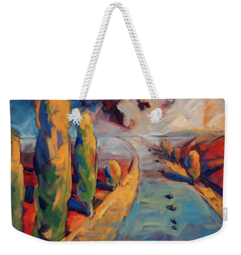 California Weekender Tote Bag featuring the painting Yellow Cypress by Konnie Kim
