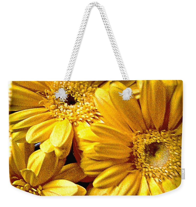Floral Weekender Tote Bag featuring the photograph Yellow Daisies by Doug Heslep