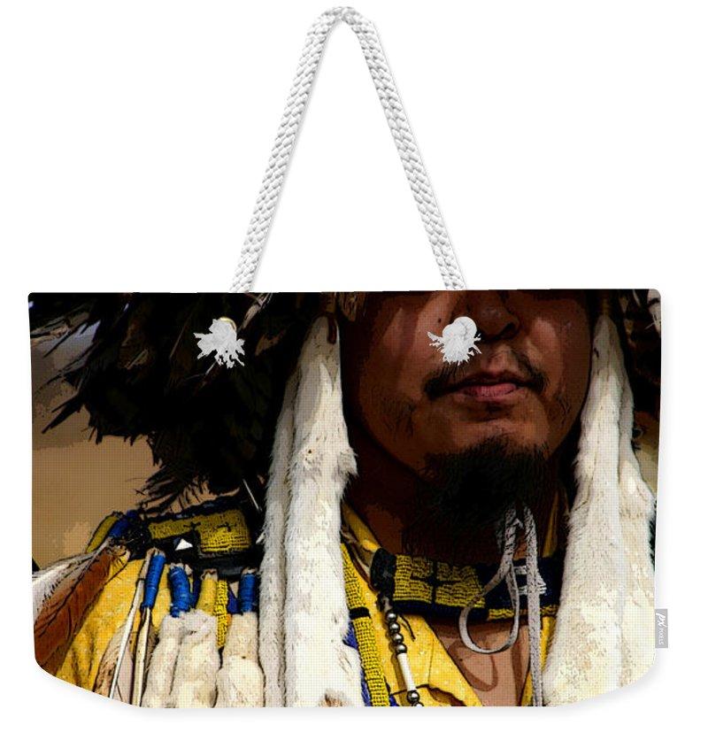 Pow Wow Weekender Tote Bag featuring the photograph Yellow Dancer by Joe Kozlowski