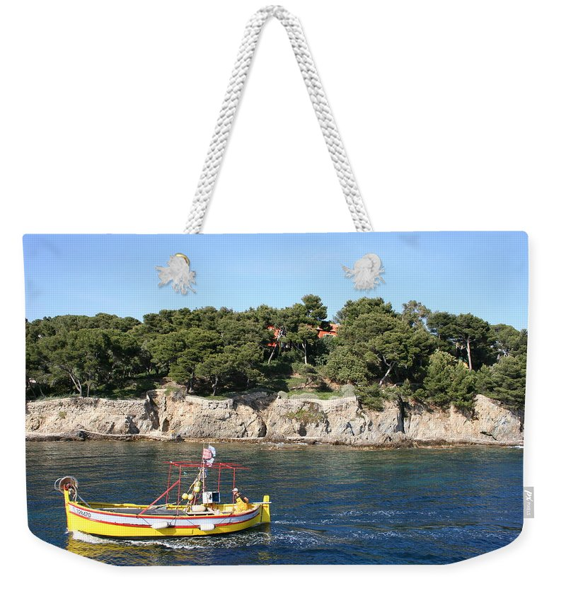 Fishing Boat Weekender Tote Bag featuring the photograph Yellow Fishing Boat - Cote D'azur by Christiane Schulze Art And Photography