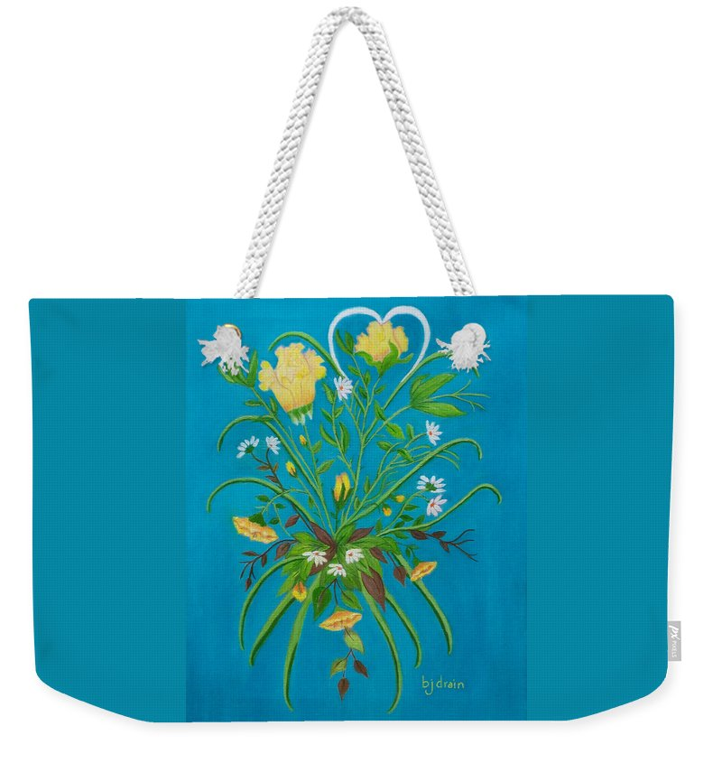 Floral Painting Weekender Tote Bag featuring the painting Yellow Floral Enchantment In Turquoise by Brenda Drain