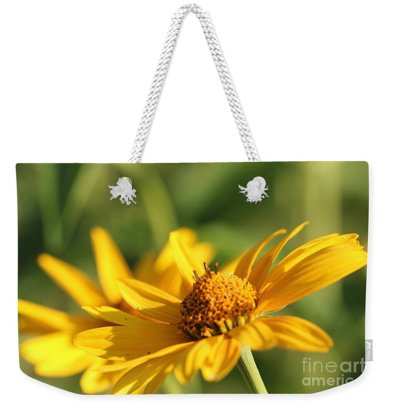 Blossom Weekender Tote Bag featuring the photograph Yellow Flower by Amanda Mohler