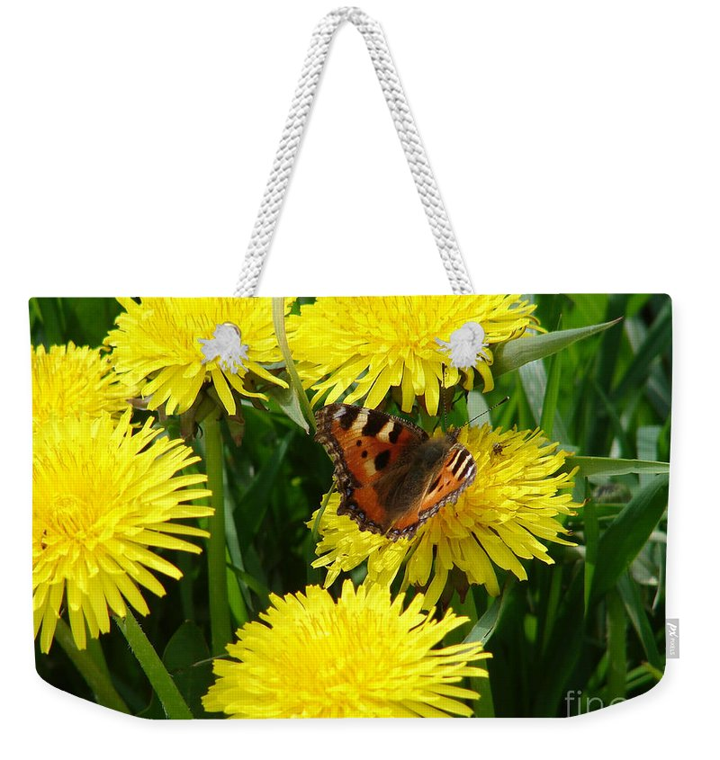 Butterfly Weekender Tote Bag featuring the photograph Yellow Flowers by Carol Lynch