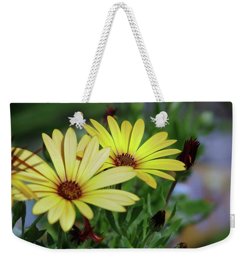 Yellow Flowers Weekender Tote Bag featuring the photograph Yellow Flowers by Jeff Swan