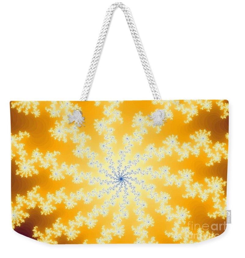 Yellow Weekender Tote Bag featuring the digital art Yellow Fractal by Henrik Lehnerer