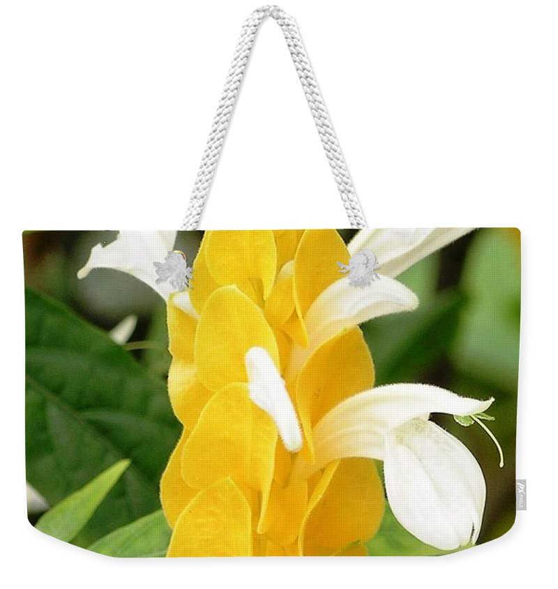 Mary Deal Weekender Tote Bag featuring the photograph Yellow Ginger Blossom by Mary Deal