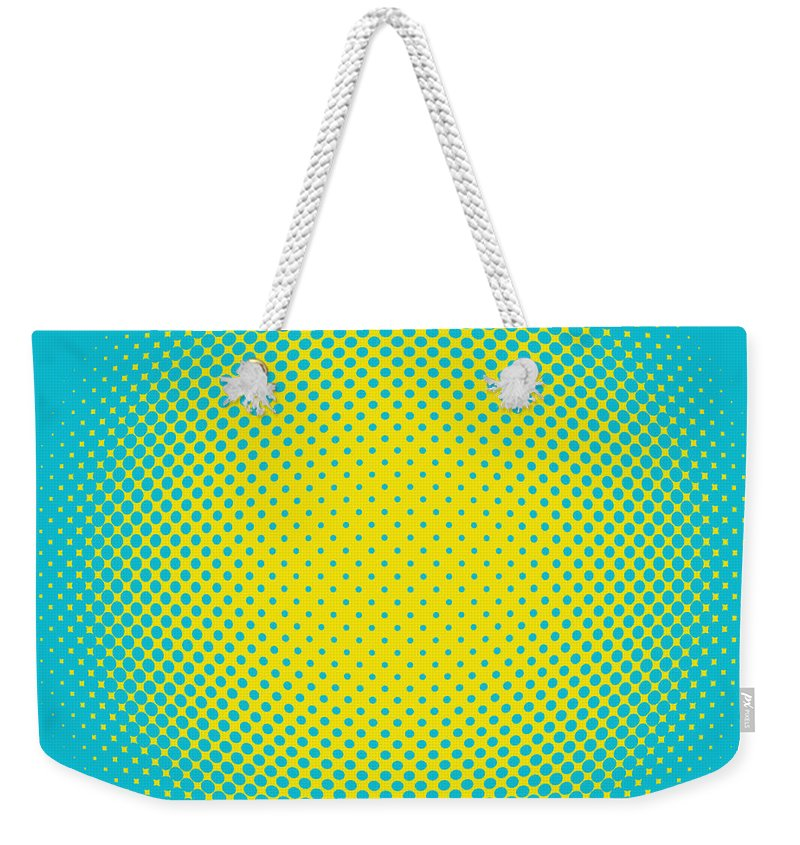 Popular Weekender Tote Bag featuring the digital art Optical Illusion - Yellow On Aqua by Paulette B Wright