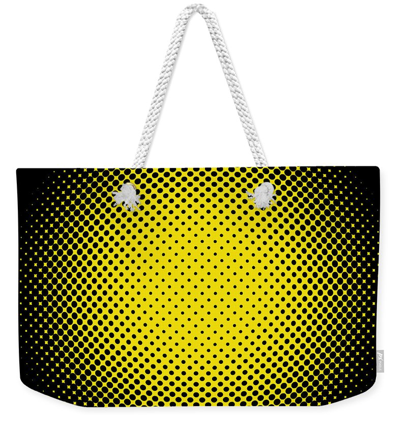 Popular Weekender Tote Bag featuring the digital art Optical Illusion - Yellow On Black by Paulette B Wright