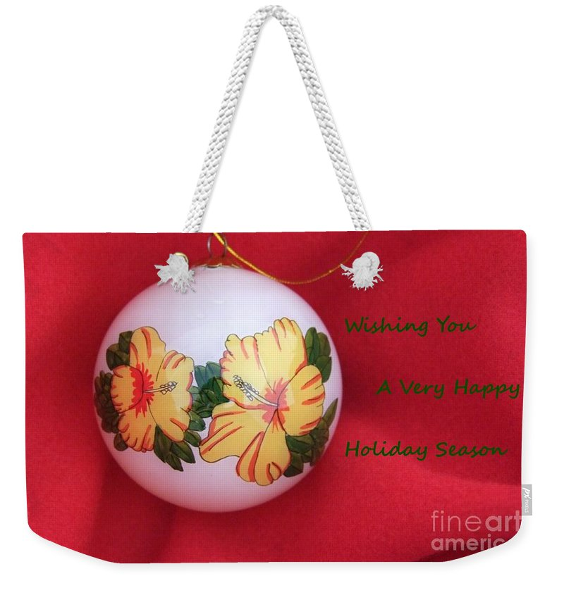 Christmas Bulb Weekender Tote Bag featuring the photograph Yellow Hibiscus Christmas Bulb by Mary Deal
