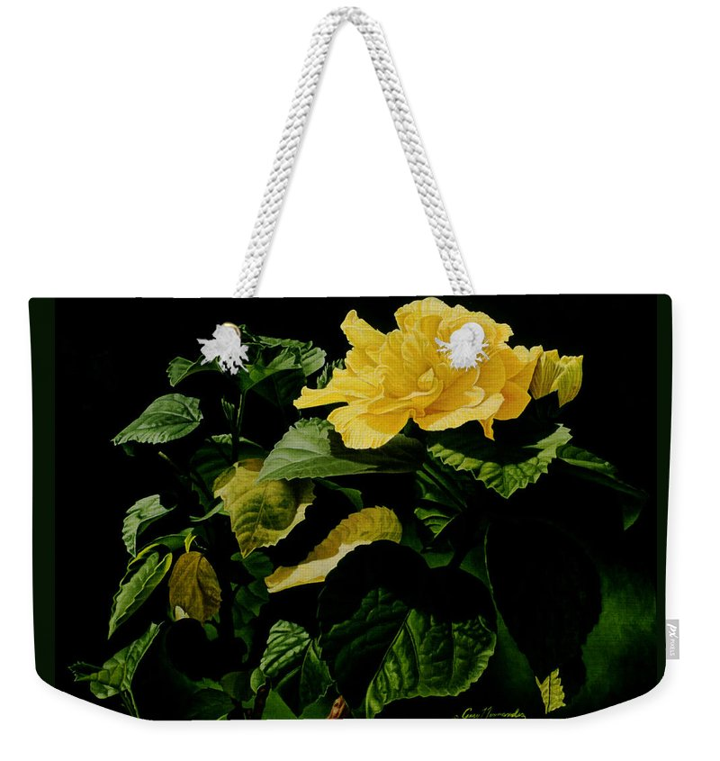 Floral Weekender Tote Bag featuring the painting Yellow Hibiscus by Gary Hernandez