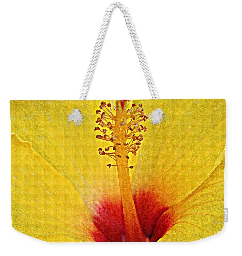 Yellow Hibiscus Up Close Weekender Tote Bag featuring the photograph Yellow Hibiscus Up Close by Dora Sofia Caputo Photographic Design and Fine Art