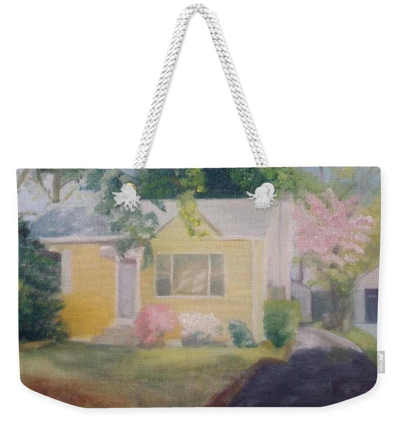 Burlington Township Weekender Tote Bag featuring the painting Yellow House by Sheila Mashaw