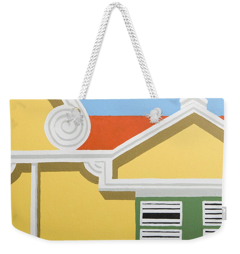 Yellow House Caribbean Architecture Curacao Aruba Antilles Sun Weekender Tote Bag featuring the painting Yellow House by Trudie Canwood