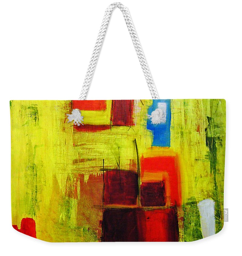 Abstract Painting Weekender Tote Bag featuring the painting Yellow by Jeff Barrett